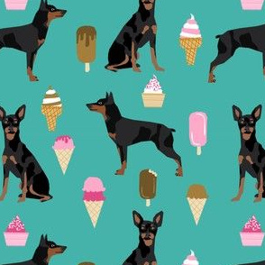 min pin fabric miniature pinscher dog ice cream design - turquoise
