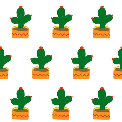 Cactus on white fabric by pumpkintreelane on Spoonflower - custom fabric