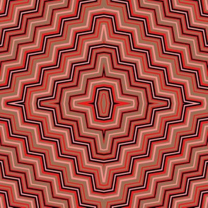 Red and Taupe Concentric ZigZags