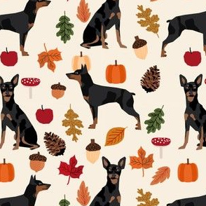 min pin autumn fabric miniature pinscher dog autumn fall leaves design - cream