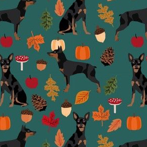 min pin autumn fabric miniature pinscher dog autumn fall leaves design - eden green