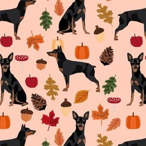 min pin autumn fabric miniature pinscher dog autumn fall leaves design - light peach
