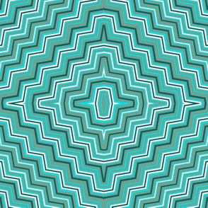 Green and Aqua Concentric ZigZags