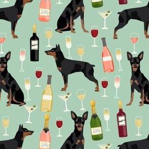 min pin wine fabric miniature pinscher dog champagne bubbly design - mint
