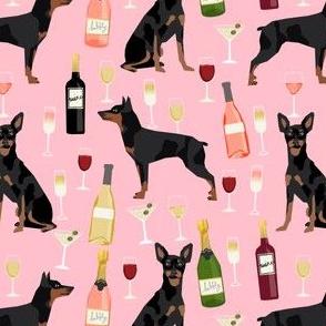 min pin wine fabric miniature pinscher dog champagne bubbly design - pink