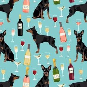 min pin wine fabric miniature pinscher dog champagne bubbly design - light blue