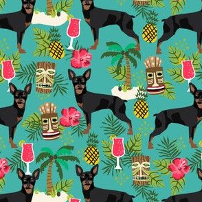 min pin tiki fabric tropical palm print design dog fabric - turquoise