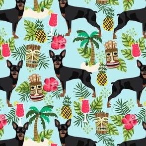 min pin tiki fabric tropical palm print design dog fabric - light blue