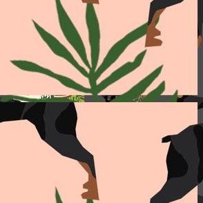 min pin tiki fabric tropical palm print design dog fabric - charcoal
