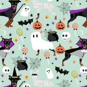 min pin halloween fabric miniature pinscher dog halloween design - light mint