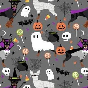 min pin halloween fabric miniature pinscher dog halloween design - grey