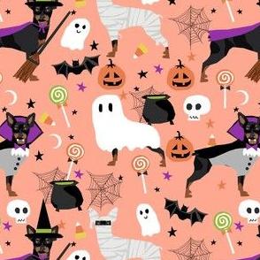 min pin halloween fabric miniature pinscher dog halloween design - light orange