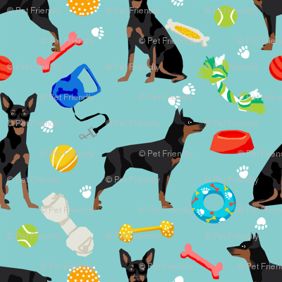 min pin dog fabric dogs and toys design miniature pinscher - blue