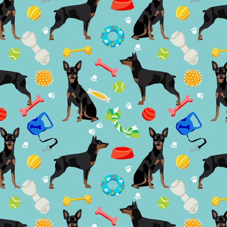 min pin dog fabric dogs and toys design miniature pinscher - blue fabric by petfriendly on Spoonflower - custom fabric