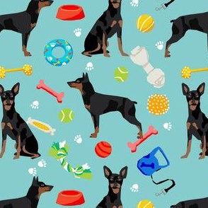 min pin dog fabric dogs and toys design miniature pinscher - blue