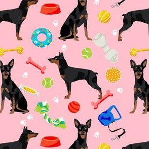 min pin dog fabric dogs and toys design miniature pinscher - pink