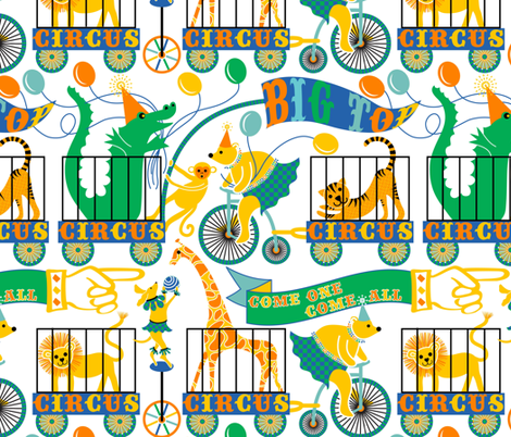 Come one, come all - the Big Top Circus is in town fabric by vo_aka_virginiao on Spoonflower - custom fabric
