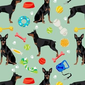 min pin dog fabric dogs and toys design miniature pinscher - mint