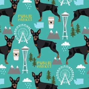 min pin seattle fabric miniature pinscher  design cute dog in the city fabric - turquoise