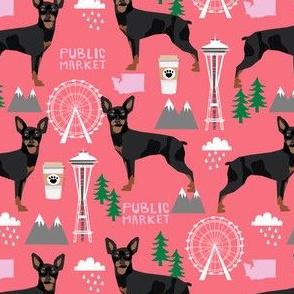 min pin seattle fabric miniature pinscher  design cute dog in the city fabric - pink