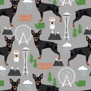 min pin seattle fabric miniature pinscher  design cute dog in the city fabric - grey