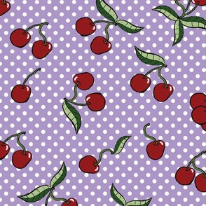 Vintage Style Cherries on Polka Dots with Purple Background