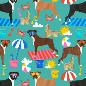 boxer beach fabric boxer dog sandcastles design - turquoise