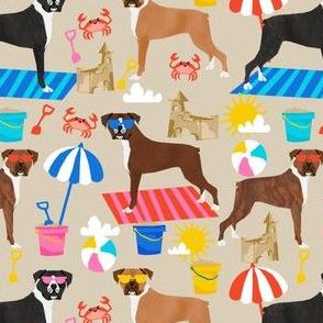 boxer beach fabric boxer dog sandcastles design - sand