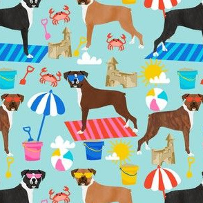 boxer beach fabric boxer dog sandcastles design - light blue