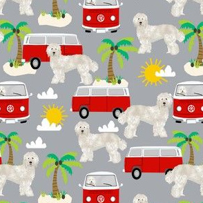 labradoodle fabric summer palm tree design - grey