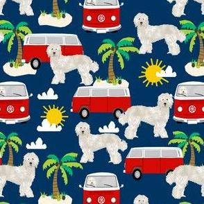 labradoodle fabric summer palm tree design hippie beach bus - navy
