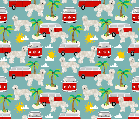 labradoodle fabric summer palm tree design - light blue fabric by petfriendly on Spoonflower - custom fabric
