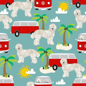 labradoodle fabric summer palm tree design - light blue