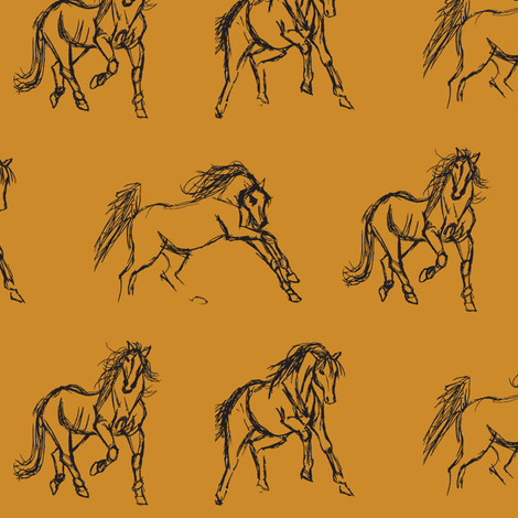 Gestural Horses on Mustard Gold fabric by pennyroyal on Spoonflower - custom fabric