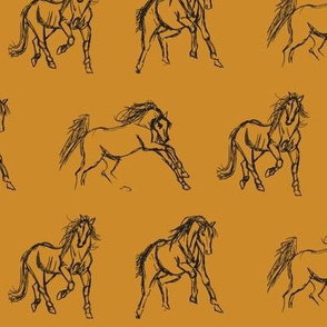 Gestural Horses on Mustard Gold