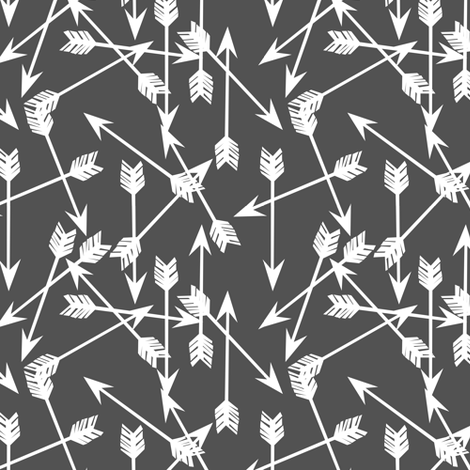 "arrows fabric // charcoal nursery baby design arrows - 2"" arrow fabric by andrea_lauren on Spoonflower - custom fabric"