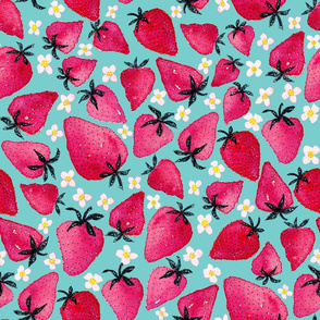 Strawberries and blossoms on Aqua background