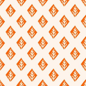 diamond fabric // safari mudcloth linocut design champagne/orange