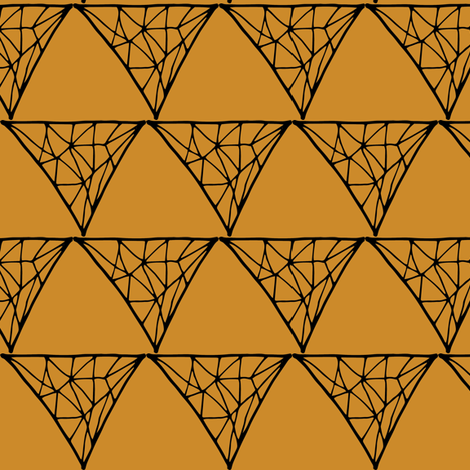 Mustard Triangle Doodles fabric by pennyroyal on Spoonflower - custom fabric
