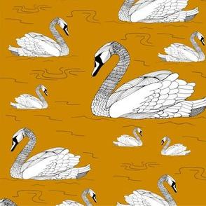 Mustard Gold Swans