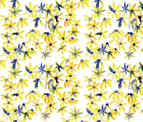 blue eyed susan fabric by rosemaryanndesigns on Spoonflower - custom fabric