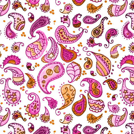 Watercolor Paisley Pink fabric by litlnemo on Spoonflower - custom fabric