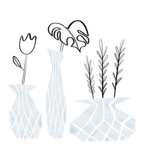 3 blue vases watercolor cutout