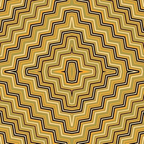 Olive and Yellow Concentric ZigZags