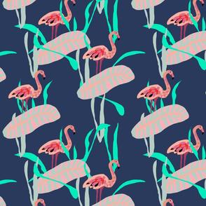 Papercut Flamingos on Navy