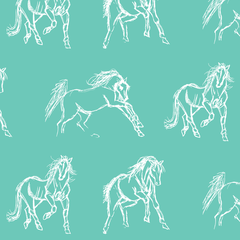 Gestural Horses Eggshell fabric by pennyroyal on Spoonflower - custom fabric