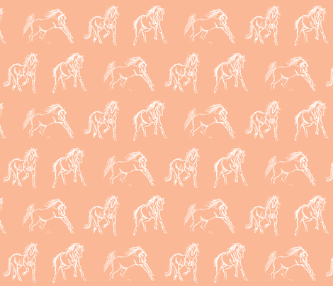 Gestural Horses Salmon fabric by pennyroyal on Spoonflower - custom fabric