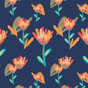 Retro Tulips Navy