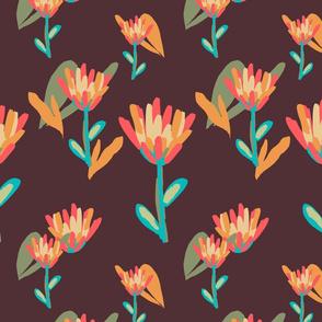 Retro Tulips Maroon