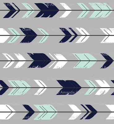 Arrow Feathers Rotated - Evenstar - navy, mint, white on grey